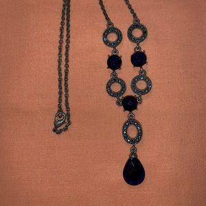 Avon royal blue dangle necklace